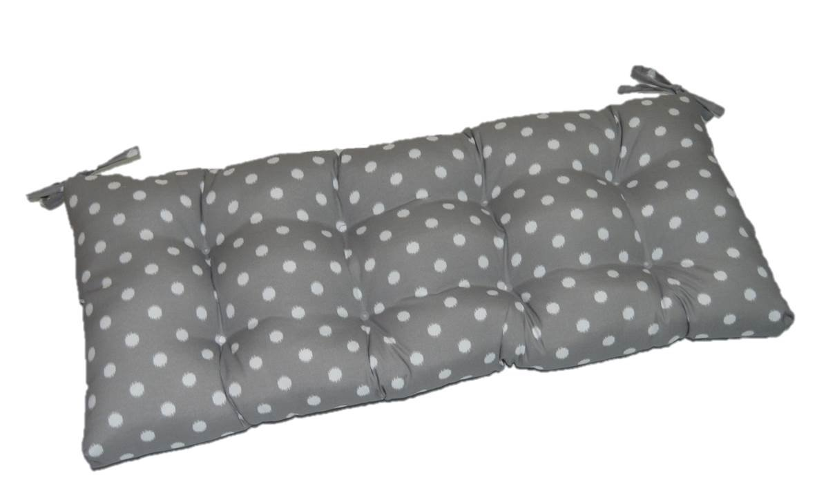 Gray / Grey & White Ikat Polka Dot Indoor / Outdoor Tufted Cushion with Ties for Bench, Swing, Glider - Choose Size (72'' x 20'')