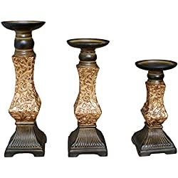 "TIAAN's Set of 3 Resin Pillar Candle Holders - 12"", 10"",8"""