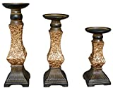 TIAAN's Set of 3 Resin Pillar Candle Holders - 12'', 10'',8''