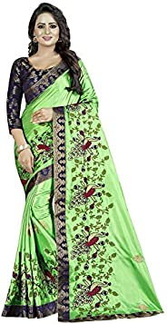 VintFlea Womens Party Wear Cotton Silk Saree with Blouse Piece for Indian Wedding Gift