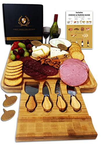 (Cheese Board Set, Charcuterie Board, Cheese Cutting Plate, Bamboo Serving Tray with Cutlery Knives in Drawer, Big Meat Cracker Wood Platter Plate PLUS Large Space, Cheese Markers, Magnetic Safety Lock)