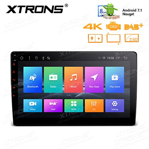 (XTRONS 10.1 Inch Android 7.1 Nougat 32GB ROM + 2GB DDR3 RAM Octa-Core Rotatable Face Panel Car Stereo)