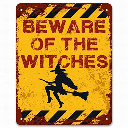 HarrodxBOX Beware of The Witches Funny Spooky Halloween Decor Retro Decorative Metal Signs for Women Wall Post Tin Sign Present -