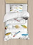 Ambesonne Fishing Duvet Cover Set Twin Size, Several Fish Hook Equipment Objects Trolling Angling Netting Gathering Activity, Decorative 2 Piece Bedding Set with 1 Pillow Sham, Multicolor
