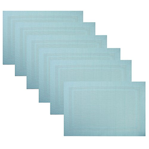 Placemats,Heat Insulation Non Slip Plastic Placemats,Washable Easy to Clean Woven Vinyl Kitchen Stain Resistant Placemats for Dining Table Set of 6(Sky Blue)