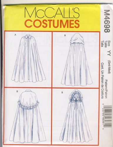Mccalls Renaissance Costume Patterns (McCall's Costumes Sewing Pattern 4698 - Use to Make - Misses' Capes - Renaissance Style - Sizes Small and Medium)