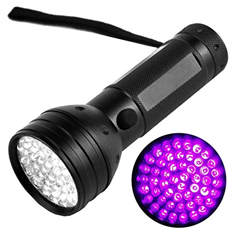 LEDMO 51 LEDS UV Flashlights, Blacklight Premium Handheld Ultraviolet Streamlight, Pet Dog and Cat Urine Stain Detector 395nm, Black