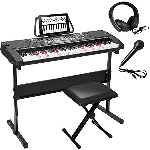 Smartxchoices 61-Key Portable Electronic Keyboard Piano LCD Display Lighten Keyboard Kit with Adjustable Stand, Stool, Headphones, Microphone & Music Stand