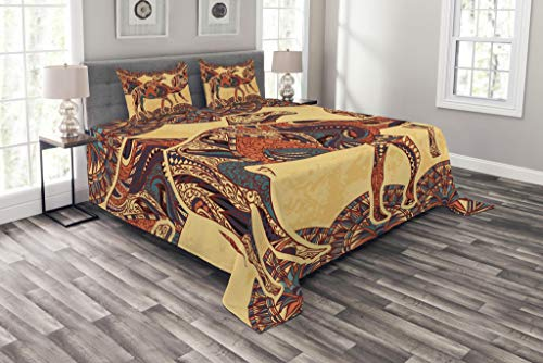 Lunarable Tribal Coverlet Set Queen Size, African Camel Animals with Oriental Arabesque Ornaments Folkloric Culture Image, Decorative Quilted 3 Piece Bedspread Set with 2 Pillow Shams, Orange Canary