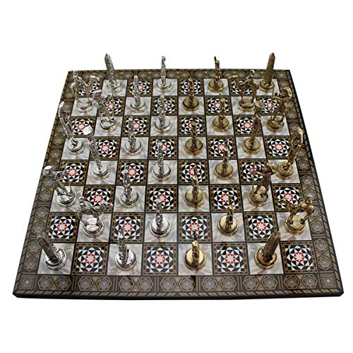 Historical Ancient Egypt Pharaoh Figures Metal Chess Set for Adult and Kids Handmade Elegant Pieces and Mother-of-Pearl Patterned Wood Chessboard King 3.4""