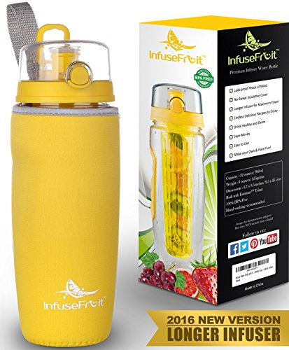 Infuser Water Bottle with Full Length Infusion Rod and Insulating Sleeve + 25 Fruit Infused Water Recipes eBook Gift - Large 32 Oz Sport Bottle - Your Healthy Hydration Made Easy - Golden Yellow (Bottle Dispenser Machine compare prices)