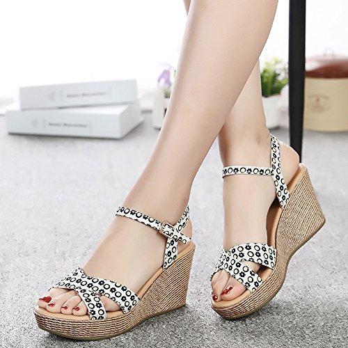 alto cómodo zapatos ocasionales la tacón sandalias de 7 femenina 1001 verano los del manera MEIDUO con 2 gruesas Chanclas de de Sandalias 8cm colores zq76wBY