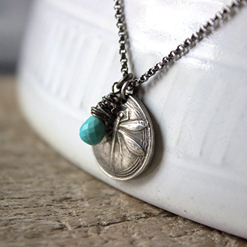 Dragonfly Silver Turquoise Necklace, Sterling Silver Chain Necklace, Silver Dragonfly Charm Pendant, December Birthstone Necklace