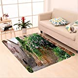 Nalahome Custom carpet dscape Summer Garden Flowers Marigold Stones Antique Ancient House in Spain Art Print Multicolor area rugs for Living Dining Room Bedroom Hallway Office Carpet (6.5' X 10')
