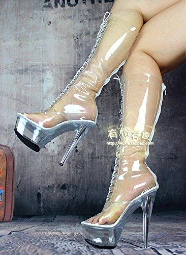 15 cm schuhe, hochhackigen schuhe, cm volle transparenz hohe stiefel - 8e8a61