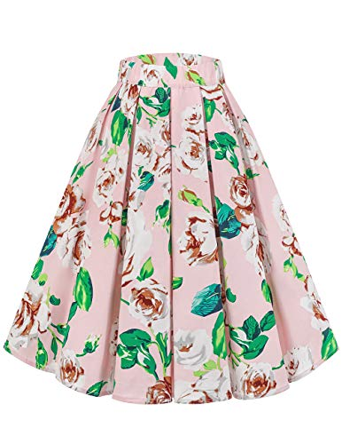 Bridesmay Women's Vintage Pleated Skirt Floral Printed A-line Swing Skirt with Pockets Pink Ink Flower M