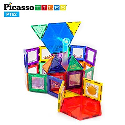 PicassoTiles PT62 Kids Toy Building Block Ferris Wheel Set LED Light Children Construction Kit Magnet Tiles: Toys & Games