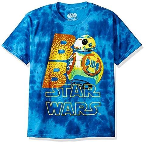 Star Wars Big Boys' Neon Bb-8 with the Force Awakens Logo Tie-Dye T-Shirt, Blue, S - Boys Blue Tie Dye