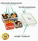 Bento Box Meal Prep Containers (3 Pack) - PREMIUM Divided Food Storage Containers | Portion Control | Removable 3 Compartments | LEAK PROOF | Microwavable | BPA FREE | Reusable | FIT, Strong & Healthy