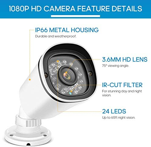 2.0MP 1080P Home Security Camera HD CCTV Camera 24PCS IR-LEDs 100ft Night Vision Waterproof Surveillance Camera, Aluminum Metal Housing for HD-TVI, AHD, CVI, and 960H CVBS Analog DVR