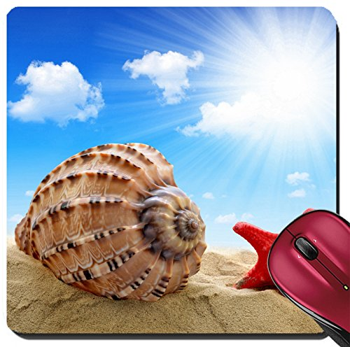Offering Conch Shell (Liili Suqare Mousepad 8x8 Inch Mouse Pads/Mat ID: 23448128 Conch shell with starfish on beach)