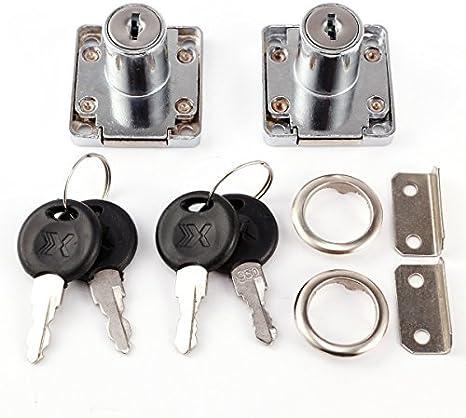 NATEE 2 Pcs Blocco per Cassetti con 4 Chiavi Comodino Scrivania Armadio Porta Ufficio Serratura a Camma Anti-furto per Armadietto Proteggere Privacy