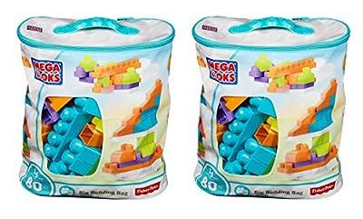 Mega Bloks OkaJGi 80 Piece Big Building Bag, Classic, Light Blue, 2 Units