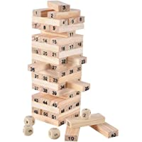 Mini tial Wooden Stacking Board Games Building Blocks for Kids ,Timber Tower Wood Block Stacking Game (54 Pieces)