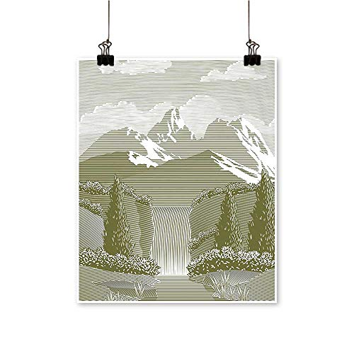 Modern Painting Woodcut Style Mod Mountain and Waterfall Paradise Sage Green Artwork for Home Decorations,12