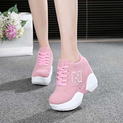 Hauteur Baskets Printemps Gateau Intrieure Gtvernh Casual ponge t Femme Chaussures Single Rose 10cm Hauts Talons Invisible tptqXvw
