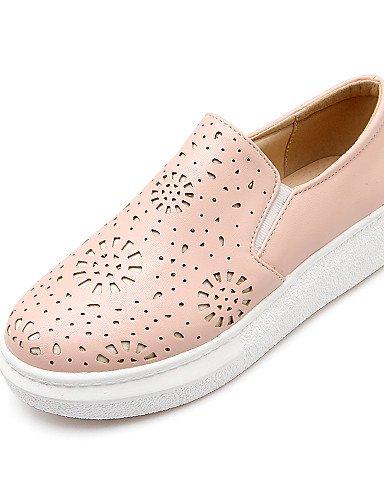 ZQ gyht Zapatos de mujer-Tacón Bajo-Punta Redonda-Mocasines-Casual-Semicuero-Negro / Rosa / Blanco , pink-us8 / eu39 / uk6 / cn39 , pink-us8 / eu39 / uk6 / cn39 white-us8 / eu39 / uk6 / cn39