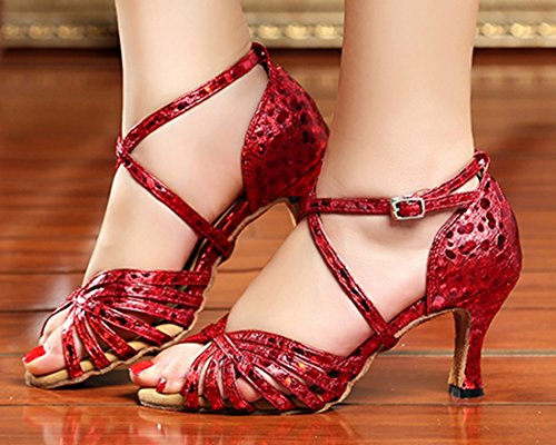 TDA Womens Fashion Ankle Strap Glitter Print Synthetic Salsa Tango Samba Modern Latin Dance Wedding Shoes 7.5cm Red KyPQx