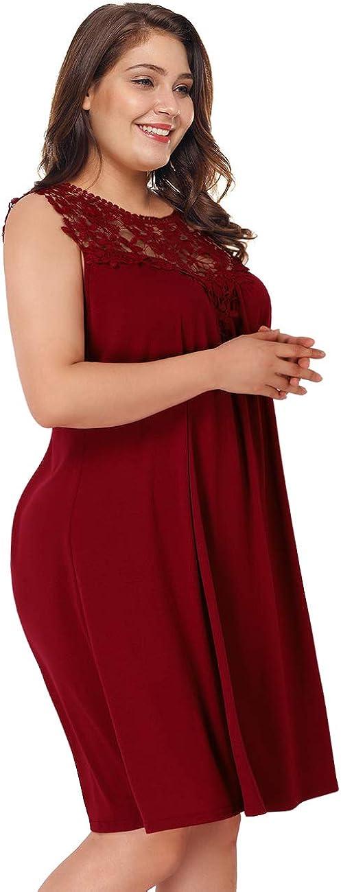 AMZ PLUS Womens Plus Size Casual Boho Sundress Summer Sleeveless Dresses