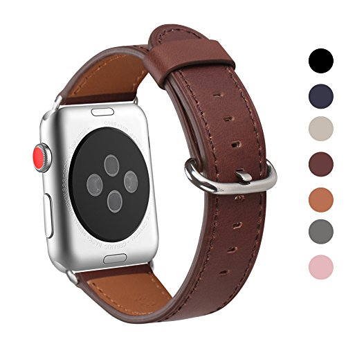 Apple Watch Band 42mm, WFEAGL Retro Top Grain Genuine Leather Band Replacement Strap with Stainless Steel Clasp for iWatch Series 3,Series 2,Series 1,Sport, Edition (Dark Brown Band+Silver Buckle)