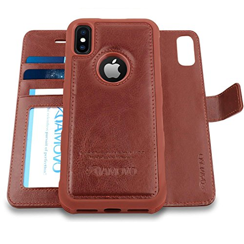 (Amovo Case for iPhone Xs/iPhone X (5.8'') [2 in 1] iPhone Xs Wallet Case [Detachable Folio] [Vegan Leather] [Wrist Strap] iPhone X Flip Case with Gift Box Package (X/XS (5.8'') Brown))