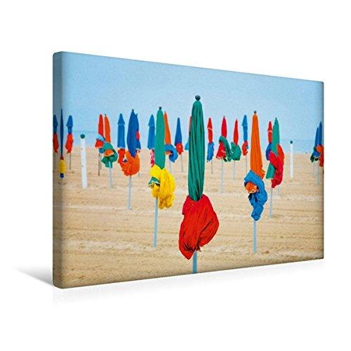 Premium Textil-Leinwand 45 cm x 30 cm quer, Strand von Deauville | Wandbild, Bild auf Keilrahmen, Fertigbild auf echter Leinwand