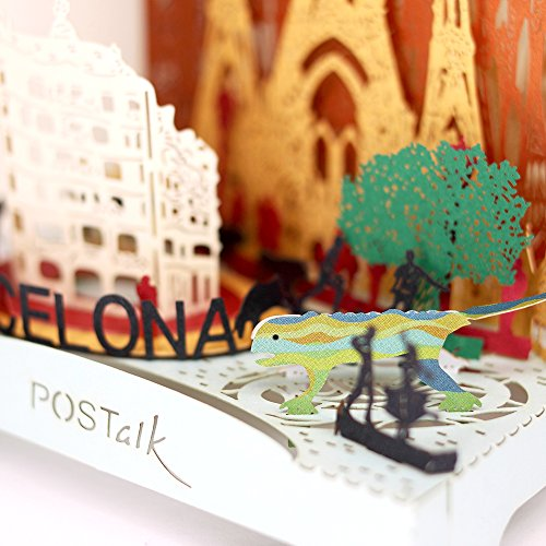 3D Pop Up Greeting Souvenir Cards, POSTALK Barcelona Travel Creative Cards Paper Craft with USB Lighting Module for Birthday, Mother's Day, Wedding, Valentine's Day, Father's Day, Children's Day Gifts by Postalk (Image #4)