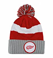 Mitchell & Ness NHL Beanie Detroit Red Wings Stripe Hi Knit Hat with Pom