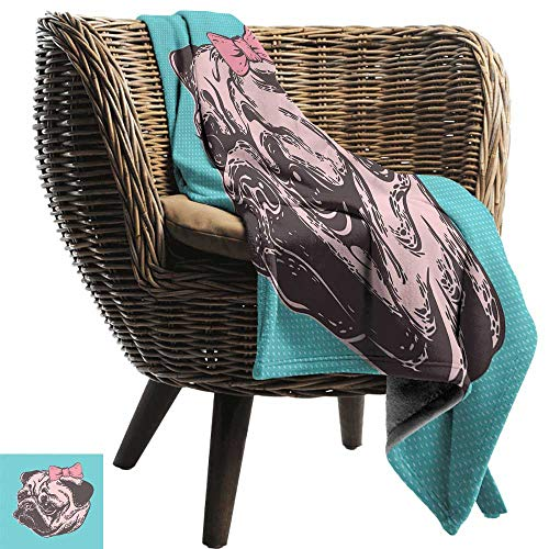 Sillgt Nap Blanket Pug Blue Background with The Cute Pug and Its Pink Buckle Adorable Animal Design Pet Print Lightweight Bed or Couch Blanket 80