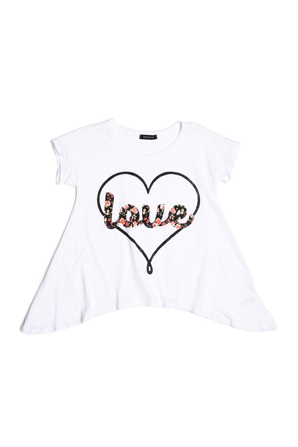 Big Girls Graphic Prints Handkerchief Short Sleeve Cotton Tee T Shirt Top USA White Love L