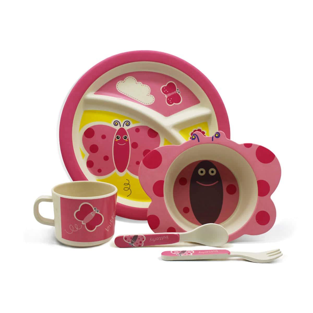 mariposa Vajilla infantil de bamb/ú juego de vajilla infantil de cuberter/ía cuenco para cereales vasos plato para ni/ño apto para lavavajillas