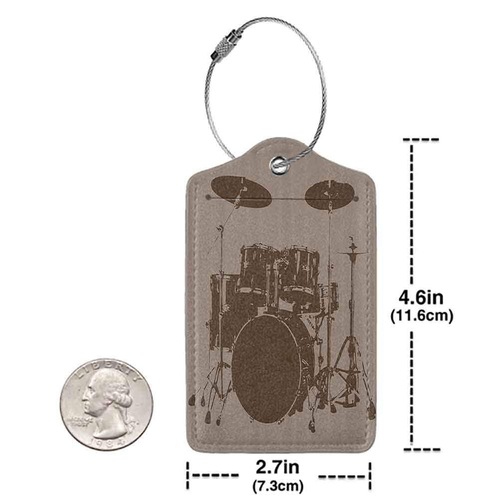 Soft luggage tag Music Decor Grunge Drum Kit for Bass Rythm Lovers Ba Dum Tss Image Sketchy Art Bendable Purple Grey and Black W2.7 x L4.6