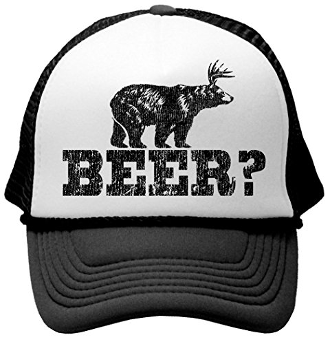 Retro Deer Beer Bear - funny party joke Funny Mesh Trucker Cap Hat, Black