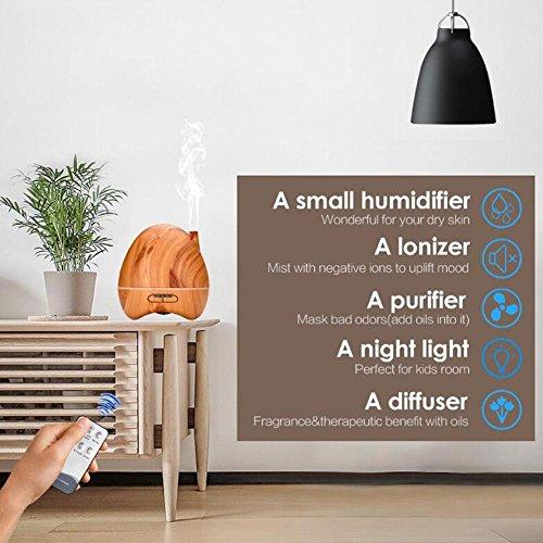 JIAYUE LY-015 300ml Ultrasonic Mute Humidifier Aromatherapy Diffuser LED Color Night Light No Water Auto Power Off Wood Grain Peach Heart Shape , Light wood grain by JIAYUE (Image #2)