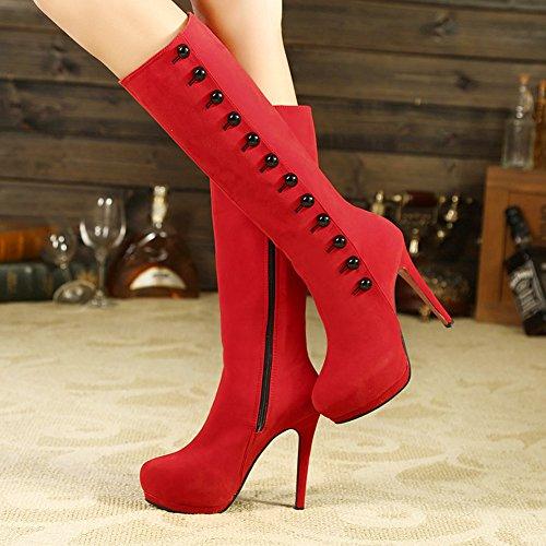 YE Damen Wildleder High Heel Stiletto Plateau Kniehohe Stiefel mit Reißverschluss 13cm Absatz Elegant Moderne Langschaft Boots Rot