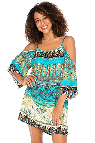Back From Bali Womens Boho Print Beach Dress Cold Shoulder Tunic Top Swimsuit Cover Up Bohemian Loose Sundress Turquoise Large