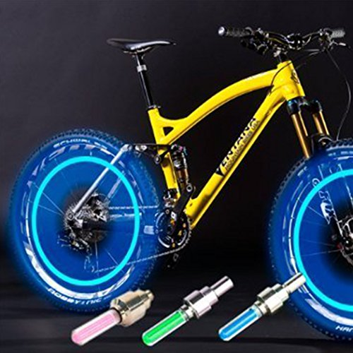 Ocathnon 2 Pack of Waterproof Led Flash Tyre Wheel Valve Cap Light For Bike Decorative Bicycle Wheel Light Tire Light