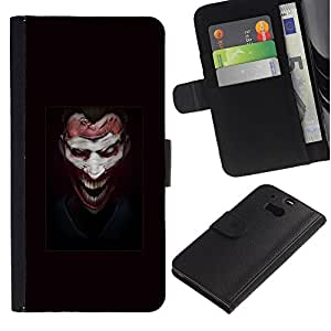 YiPhone /// Tirón de la caja Cartera de cuero con ranuras para tarjetas - Face Joker Evil - HTC One M8