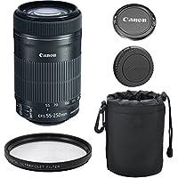 Canon EF-S 55-250mm IS STM Lens for Canon SLR Cameras + Deluxe Lens Case + Commander U.V. Filter + 4pc Bundle