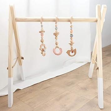 Mamimami Home Bebé Juego de Madera Gimnasio Juguete Montessori Guardería Decoración Encantos Sensoriales Juguete Educativo Para Niños Con Perchas